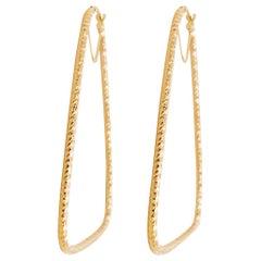 Triangle Hoop Earrings, 14 Karat Yellow Gold, Twisted Diamond Cut Hoops, Sparkly