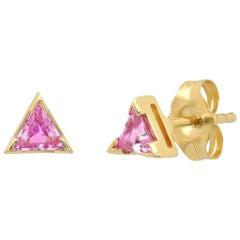 Triangle Pink Sapphire Stud Earrings, Gold, Ben Dannie