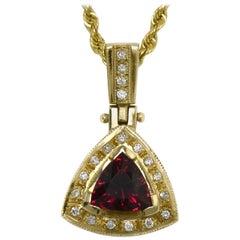 Triangle Rubellite Tourmaline Certified 3 Carat Diamond Pendant Drop Necklace