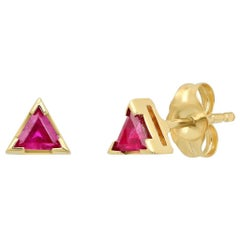 Triangle Ruby Red Stud Earrings, Gold, Ben Dannie