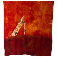 'Triangle Series #10' Quilt Painting Wool Tapestry Textile Art, in Stock