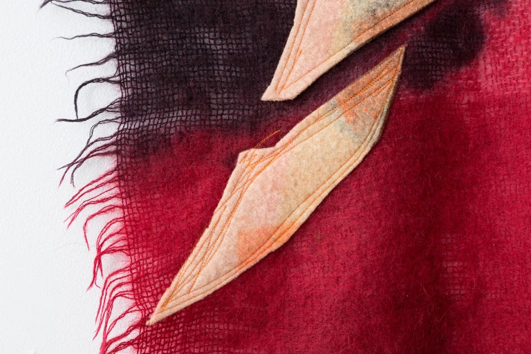 Hand-Crafted 'Triangle Series #18,' Quilt Painting Wool Tapestry Textile Art, in Stock For Sale