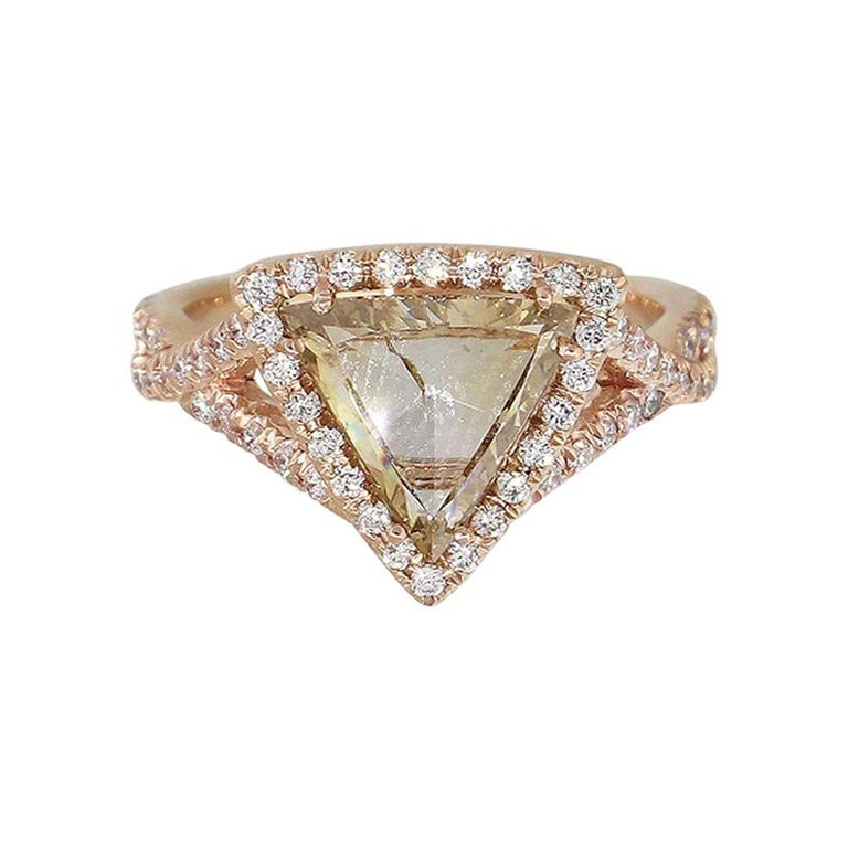 Triangle Shaped Diamond Halo Engagement Ring For Sale
