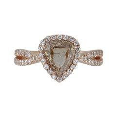 Triangle Shaped Diamond Halo Engagement Ring