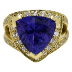 Triangle Tanzanite Diamond Cocktail Ring Gold Trillion Certified Appraisal