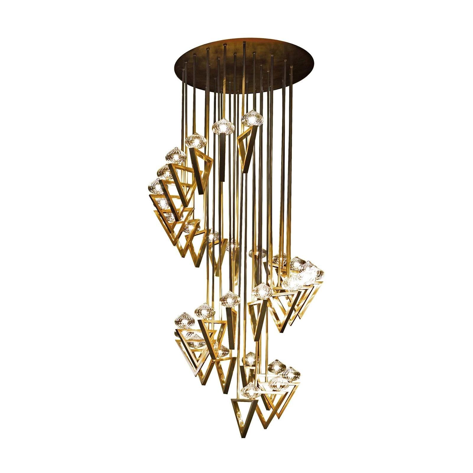 Lina 03 Light Triangle, Modern Minimal Geometric Chandelier, Polished Brass