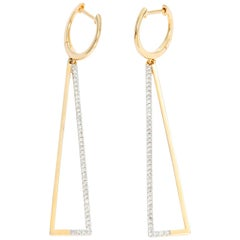 Triangular 14 Karat Yellow Gold Diamond Earrings
