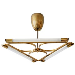 Triangular Bauhaus Brass Chandelier or Pendant Lamp, 1930s, Germany