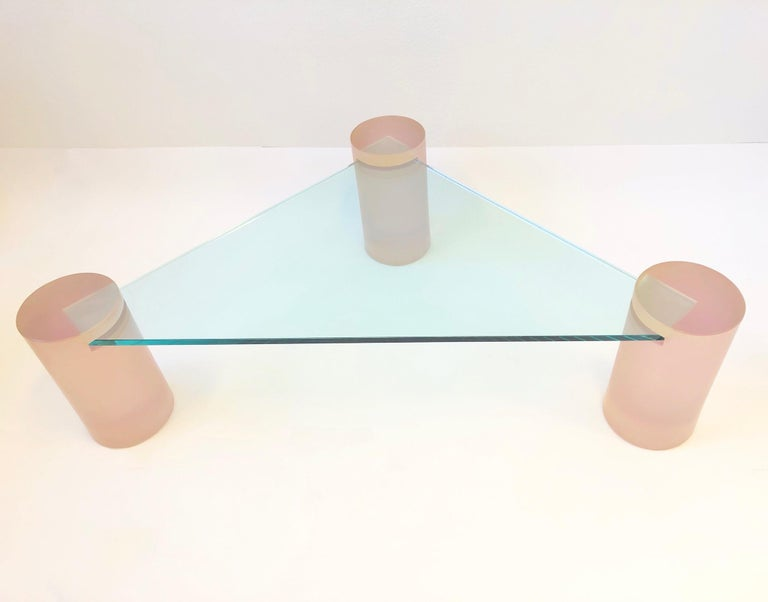 Triangular Blush Pink Lucite and Glass Cocktail Table For Sale 4