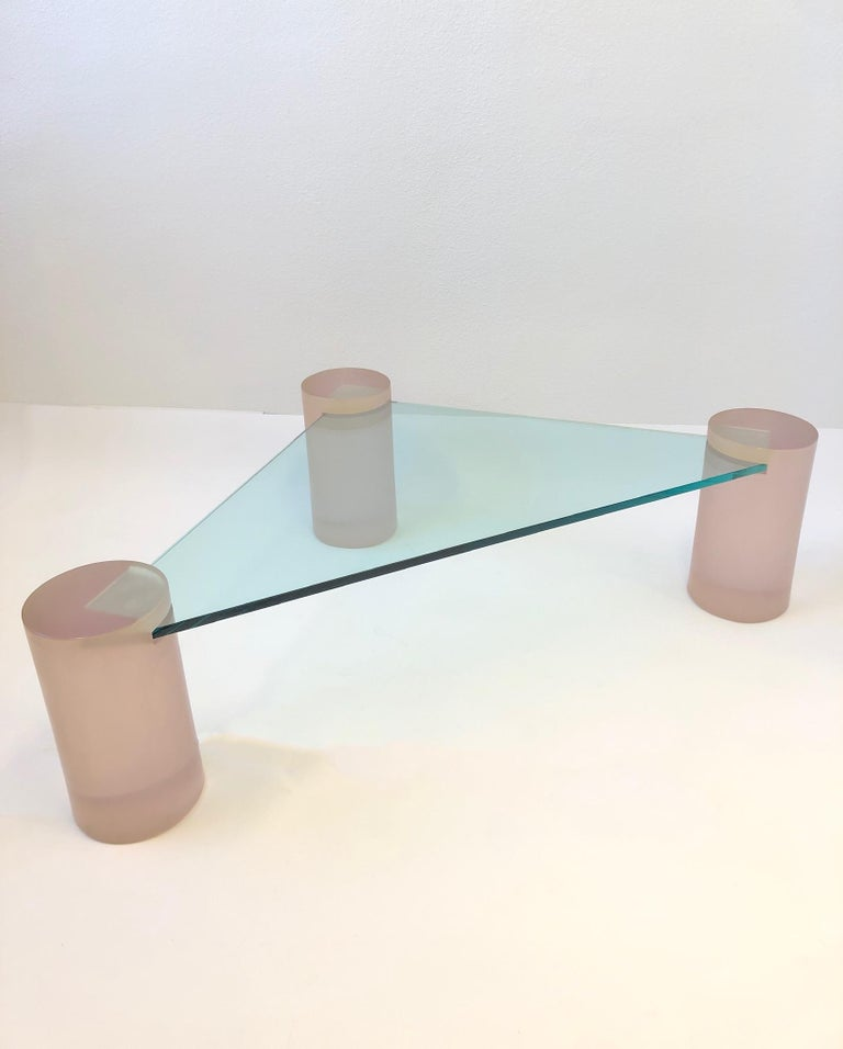 American Triangular Blush Pink Lucite and Glass Cocktail Table For Sale