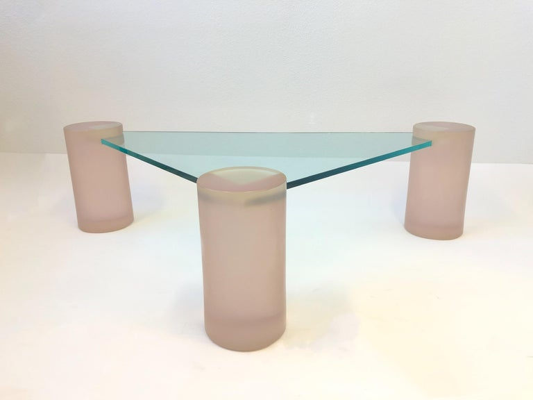 Triangular Blush Pink Lucite and Glass Cocktail Table For Sale 1