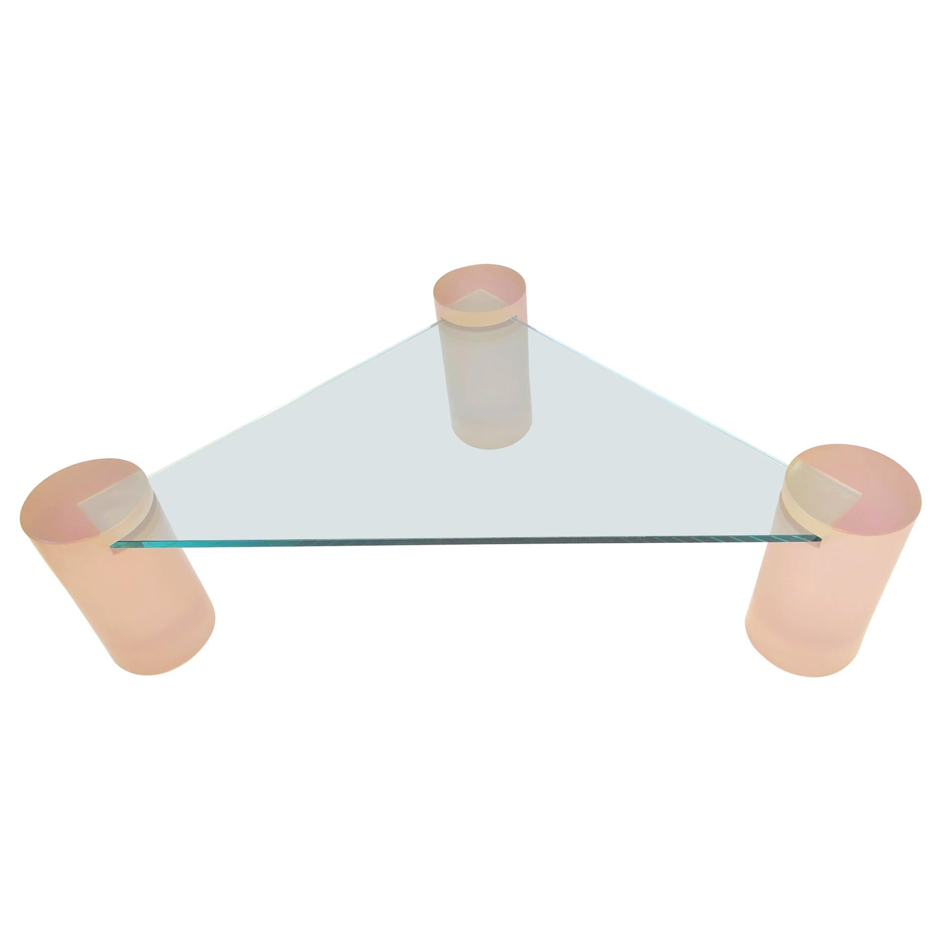 Triangular Blush Pink Lucite and Glass Cocktail Table
