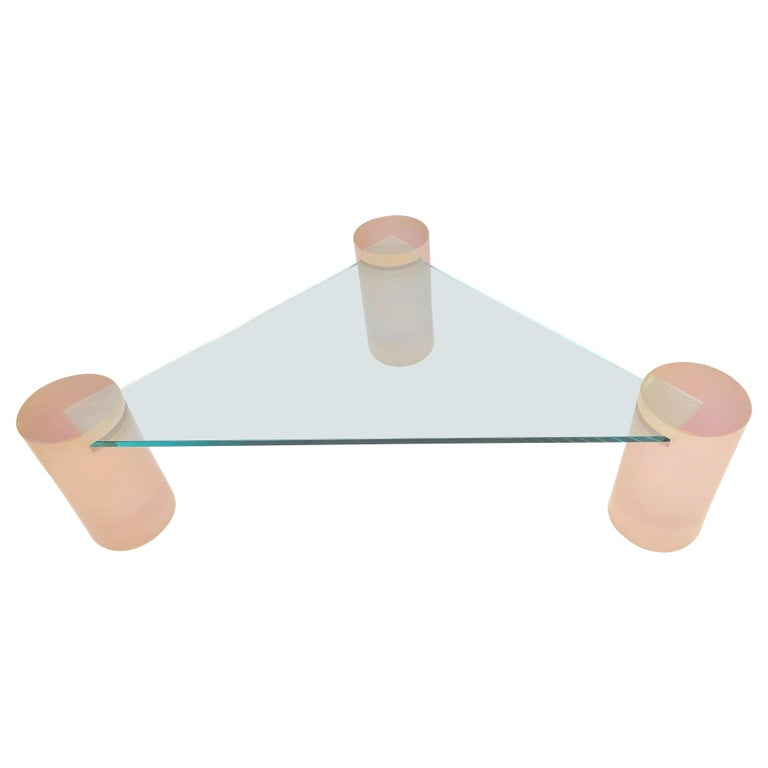 Triangular Blush Pink Lucite and Glass Cocktail Table For Sale