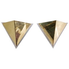 Triangular Brass and Lucite Wall Sconces, Italy