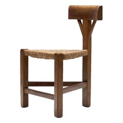 Triangular Chair in Oak and Cane, the Netherlands, circa 1960s-1970s