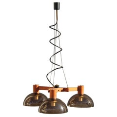 Triangular Chandelier Esperia Mid-Century Modern Italian Design Wood Brass