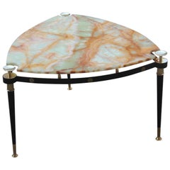 Triangular Coffee Table in Black Metal Brass and Onyx Midcentury Italian