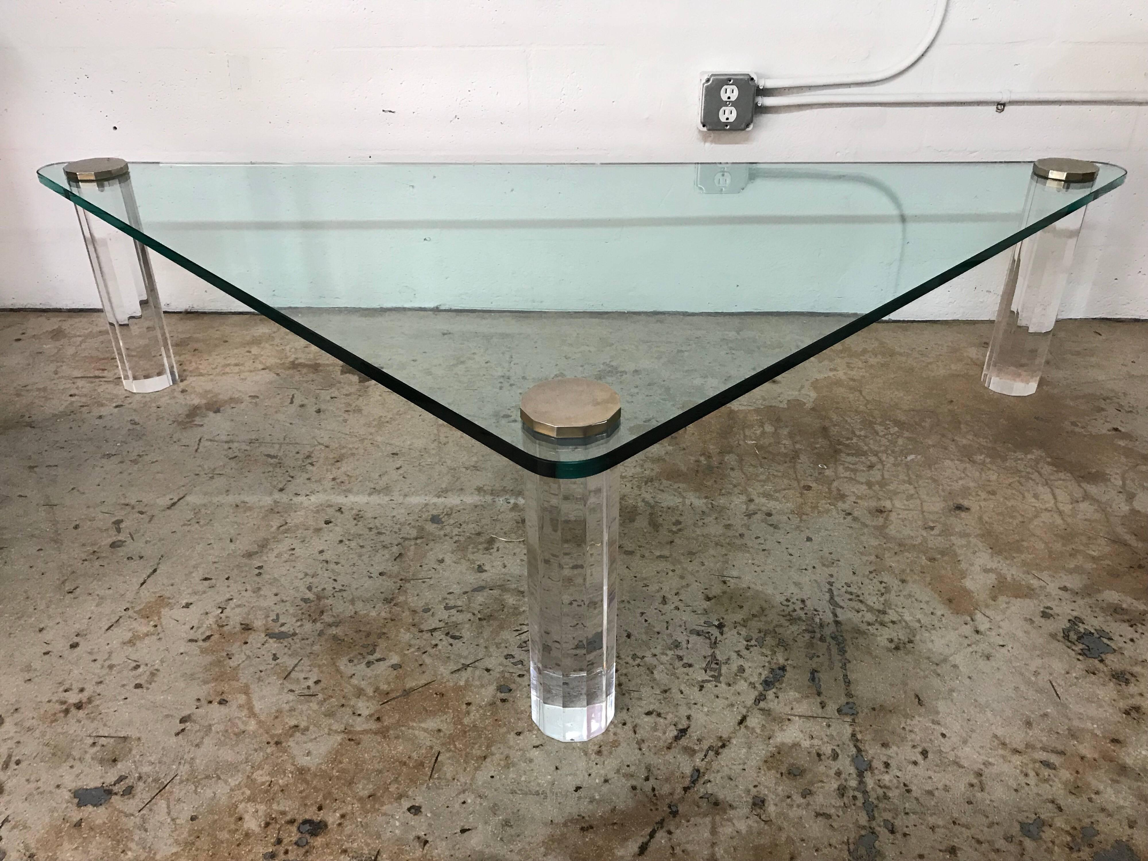 Triangular Glass And Lucite Coffee Or Cocktail Table By Leon