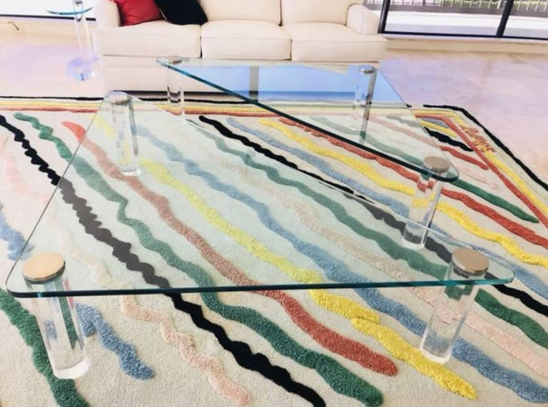 Triangular Glass and Lucite Coffee or Cocktail Table by Leon Rosen for Pace For Sale 3
