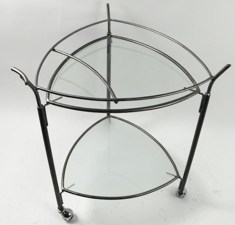 Triangular Guitar Pick Form Serving Bar Cart For Sale 3