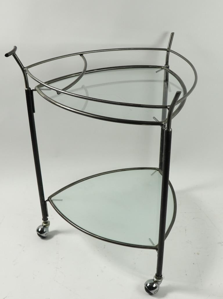 Mid-Century Modern Triangular Guitar Pick Form Serving Bar Cart For Sale