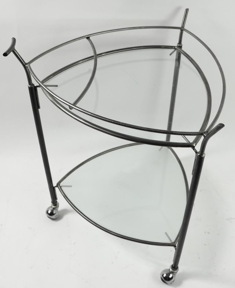 American Triangular Guitar Pick Form Serving Bar Cart For Sale
