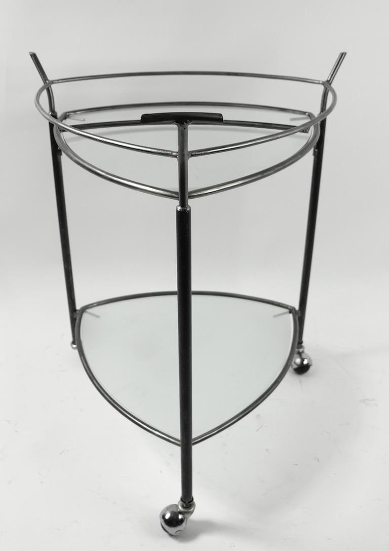 Triangular Guitar Pick Form Serving Bar Cart In Good Condition For Sale In New York, NY