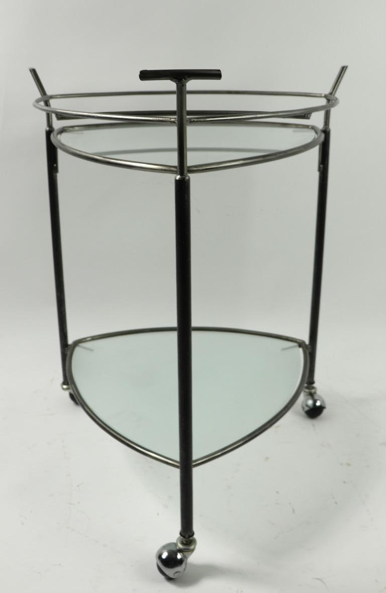 20th Century Triangular Guitar Pick Form Serving Bar Cart For Sale