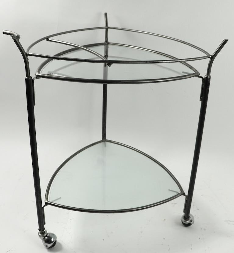 Triangular Guitar Pick Form Serving Bar Cart For Sale 1