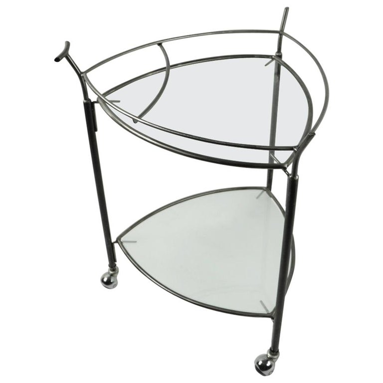 Triangular Guitar Pick Form Serving Bar Cart For Sale