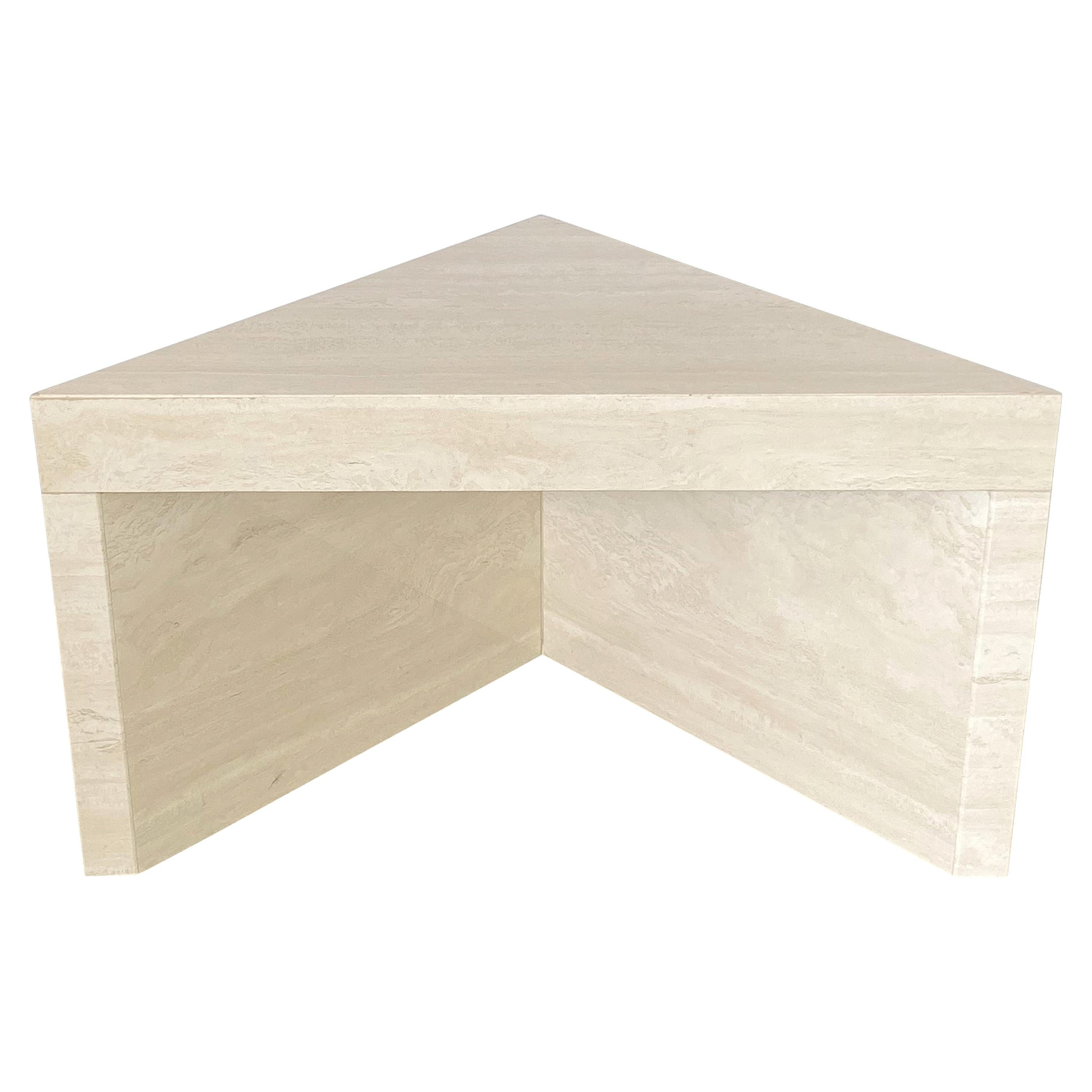 Triangular Italian Travertine End or Side Table
