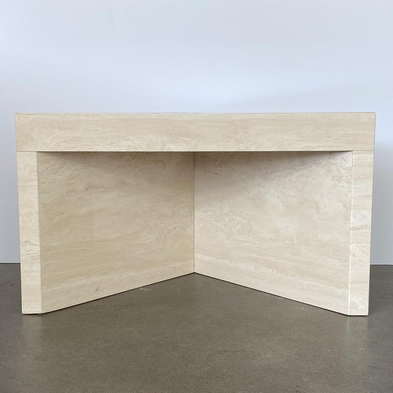 Triangular Italian Travertine End or Side Table For Sale 5