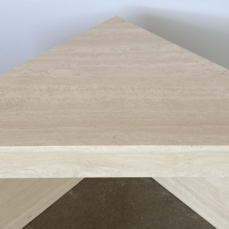 Triangular Italian Travertine End or Side Table For Sale 6