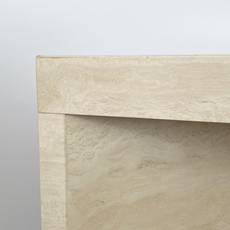 Triangular Italian Travertine End or Side Table For Sale 7