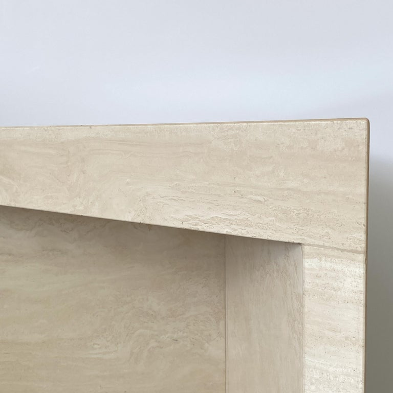 Triangular Italian Travertine End or Side Table For Sale 8