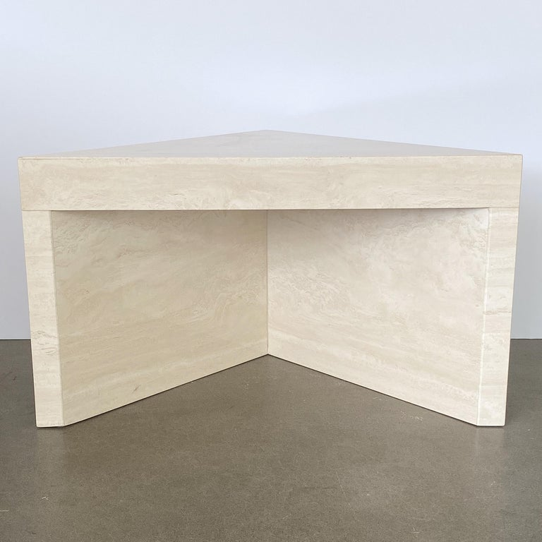 Mid-Century Modern Triangular Italian Travertine End or Side Table For Sale