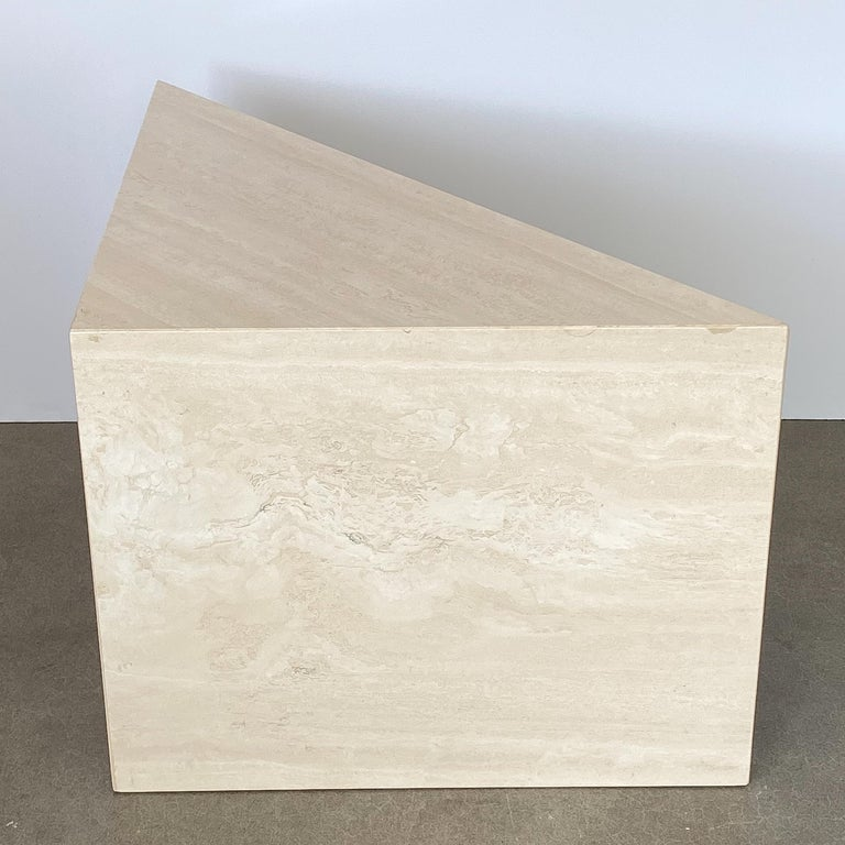 Triangular Italian Travertine End or Side Table For Sale 1