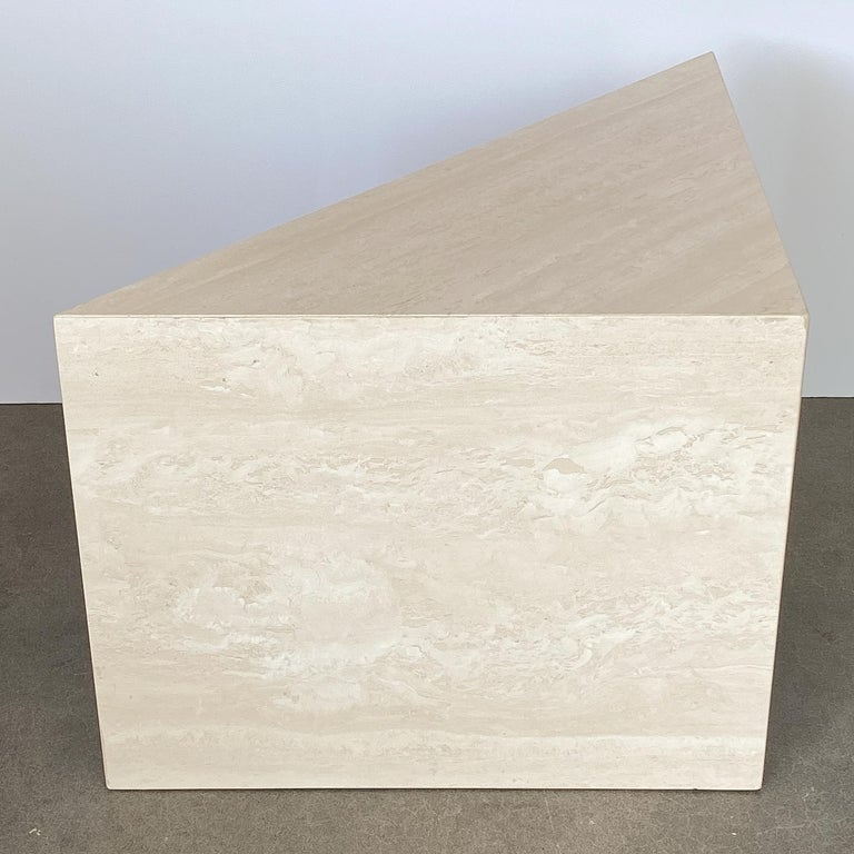 Triangular Italian Travertine End or Side Table For Sale 2