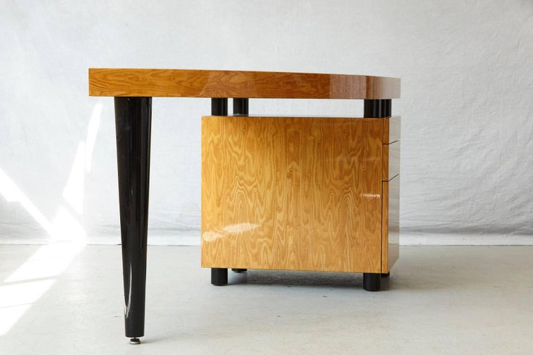 Triangular Memphis Style Inspired Lacquered 'Boca Desk' by Leon Rosen for Pace For Sale 6