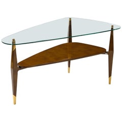 Triangular Raphael Raffel 2 Tiered Table in Beka Lacquer & Glass, France, 1950s