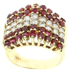 Triangular Ruby and Diamond 14 Karat Yellow Gold Ring