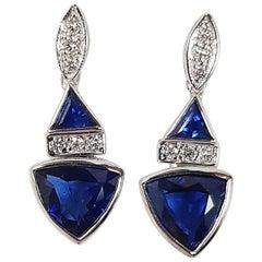 Triangular Shape Blue Sapphire, Diamond Earrings Set in 18k White Gold Settings