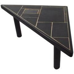 Triangular Slate Top Table Made in Denmark by Sallingboe Jelling