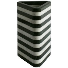 ContemporaryTriangular Stacked Stone Vessel in Marble by Fort Standard, in Stock