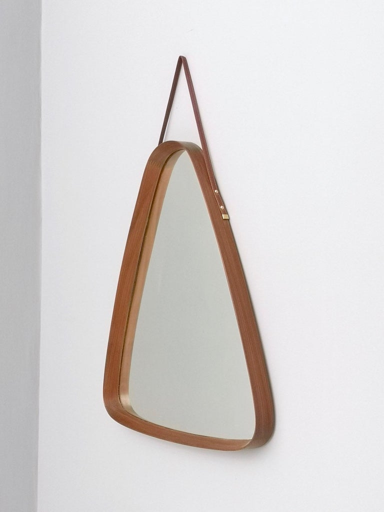 Triangular Wall Mirror with Wooden Frame and a Leather Hook, Italy, 1960s For Sale 1