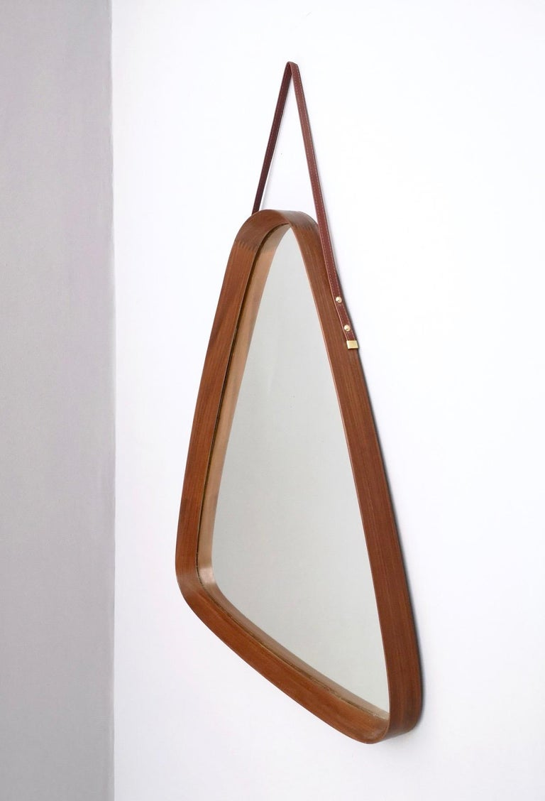 Triangular Wall Mirror with Wooden Frame and a Leather Hook, Italy, 1960s For Sale 2