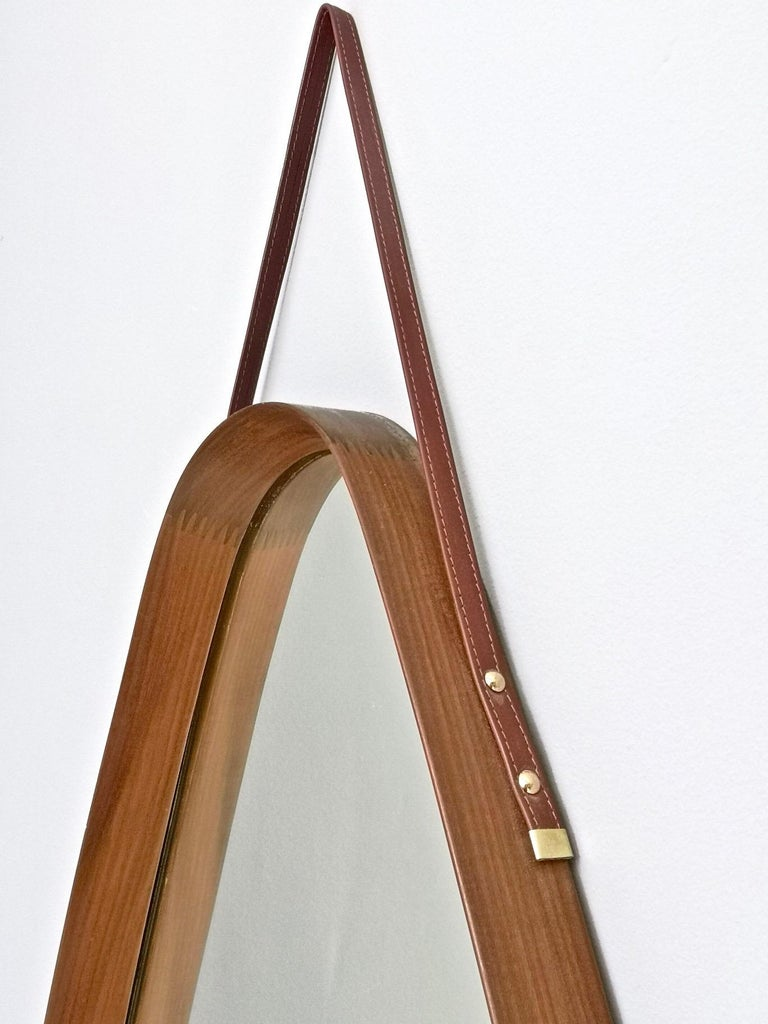 Triangular Wall Mirror with Wooden Frame and a Leather Hook, Italy, 1960s For Sale 3