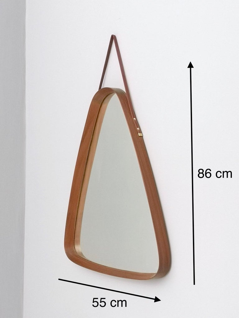 Triangular Wall Mirror with Wooden Frame and a Leather Hook, Italy, 1960s For Sale 6