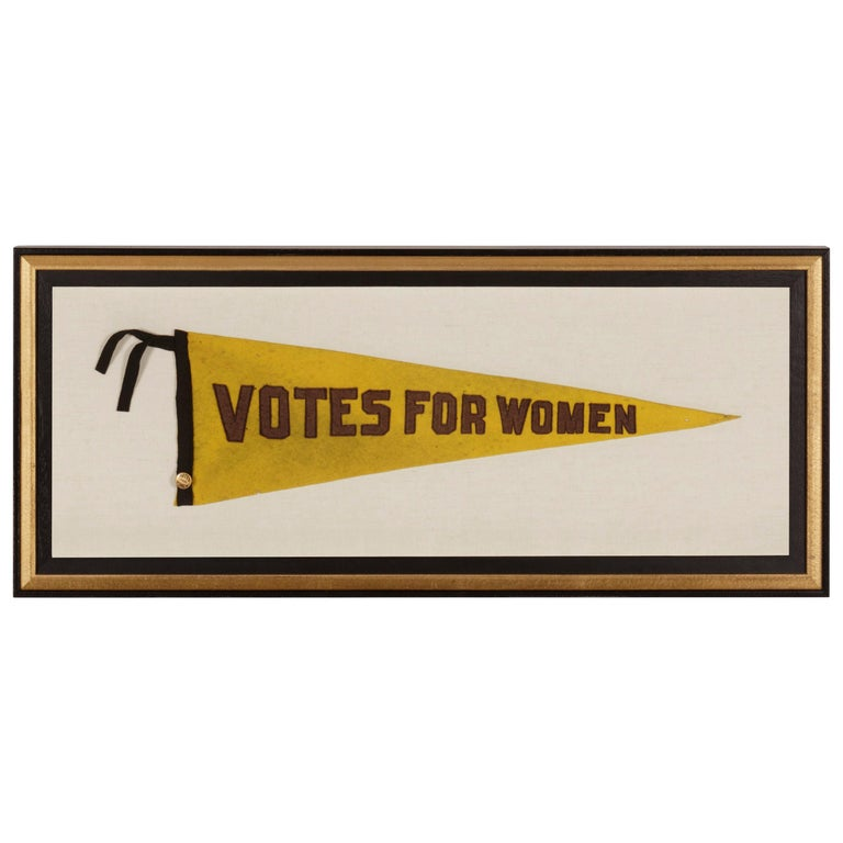 "Triangular Yellow Suffragette Pennant with Violet ""Votes for Women"" Text For Sale"