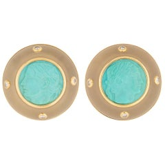 Trianon 18 Karat Gold Carved Turquoise Rock Crystal and Diamond Earrings